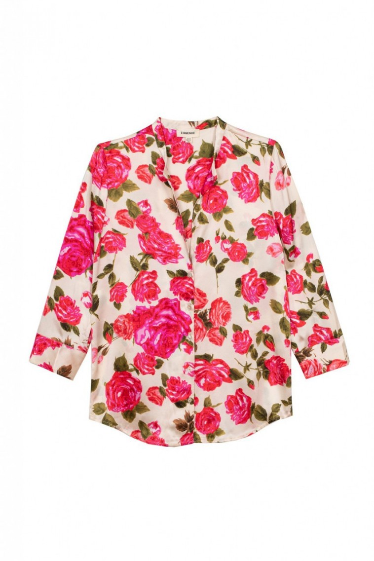 L'Agence Aoki 3/4 Sleeve Blouse in Dawn/Rosewood